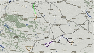 En marrón claro, morado y azul las rutas que afectan a Ciudad Real / DGT
